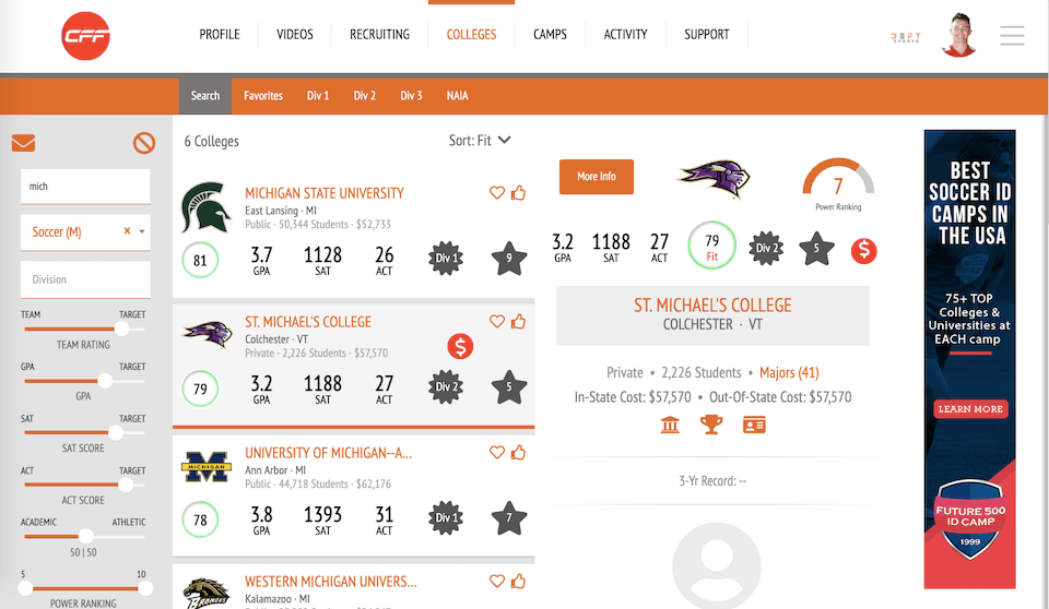 College Fit Finder Redesign Case Study Screenshot